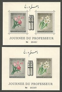 AOP Afghanistan 1961 Teacher's Day FLOWERS MS perf & imperf MNH (2)