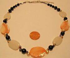 Necklace  Quartz Crystal Fresh Water Pearls White Peach Black Beads  NWT L534
