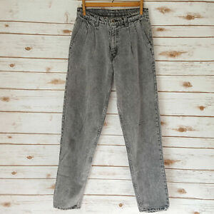 Vintage 90s Levis Acid Wash Pleated Front Jeans Tapered Mens Black Gray 28x30