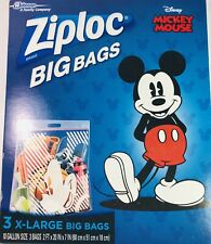 3 EXTRA LARGE ZIPLOC DISNEY MICKEY MOUSE BIG BAGS 10 GALLON STORAGE GIFT NIB