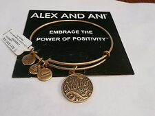 NWT Alex and Ani LIKE A MOTHER TO ME Gold Tone Charm Bracelet~Card~RARE