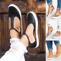 Women Girl Sneaker Loafer Flat Heel Creeper Boat Shoes Footwear Ankle Strap Size