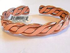 NEW PURE COPPER Mens Braided X-tra large Adjustable Cuff Bracelet Made in USA
