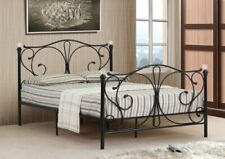 Cloud Nine Metal Bed Frame with Budget Lucy Mattress and Crystal Finials, 4FT Small Double - Black