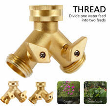 "3/4"" Double 2 Way Brass Garden Tap Connector Adaptor Watering Hose Pipe Splitter"