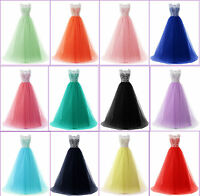 New Formal Long Tulle Lace Evening Party Prom Ball Gown Wedding Bridesmaid Dress
