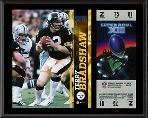 "Terry Bradshaw Steelers 12"" x 15"" Super Bowl XIII Plaque with Replica Ticket"