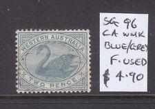 W.A.: 2d Blueish Grey Swan Sg 96 Wmk Ca Fine Used