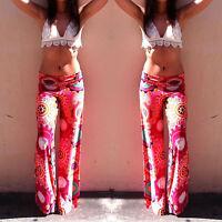 Women Yoga Boho Hippie Stretch Loose Palazzo Pants Floral Long Wide Leg Trousers
