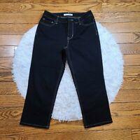 Chico's Platinum Women's Black Denim Jean Capri's Size 0