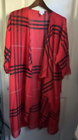 NWT LuLaRoe L Buffalo Plaid Red Black Shirley Kimono Coverup Overlay Caroline M