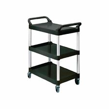 More details for rubbermaid compact utility trolley black finish polypropylene shelves