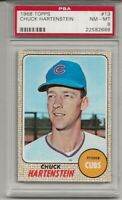 1968 TOPPS #13 CHUCK HARTENSTEIN, PSA 8 NM-MT , CHICAGO CUBS, LOW POP, TOUGH