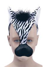 ZEBRA FACE MASK & Sound Safari Animal Costume Vestito Nuovo