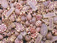 40g - Mixed Design Acrylic Ethnic Style Beads Jewellery Craft Wood Effect - J169