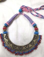 Indian Silver Oxidized Designer Antique Collection Pink Thread Necklace Jewelry