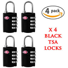 4 X BLACK SECURITY 4 COMBINATION TRAVEL SUITCASE LUGGAGE BAG CODE LOCK PADLOCK