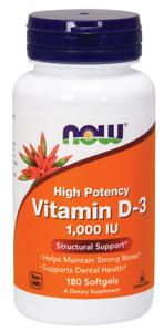 NOW Foods Vitamin D-3 1000 IU 180 Softgels Bone & Teeth Health 12/24EXP FRESH