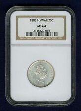 HAWAII KALAKAUA I 1883 QUARTER-DOLLAR / 25 CENTS UNCIRCULATED CERTIFIED NGC MS64