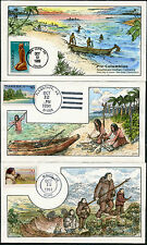 #C121 // #C131A (3) DIFFERENT COLLINS HAND PAINTED FDC CACHET BP7347