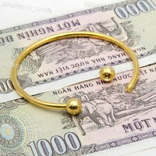 RUBYCA 5pcs Gold Cuff Open Bangle Bracelet Screw end Ball European Charm Beads
