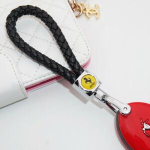For Ferrari Emblem Key Chain Ring BV Calf Leather Style Gift Decoration - Black