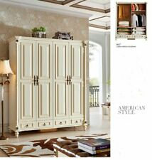 Classical Solid Wood Wardrobe Wardrobe Wood Cabinet USA Style Furniture 801