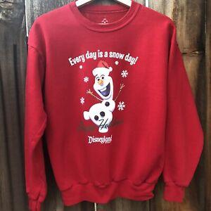 Disneyland Resort Frozen Olaf Snow Day Happy Holiday Sweatshirt Kids XL Red