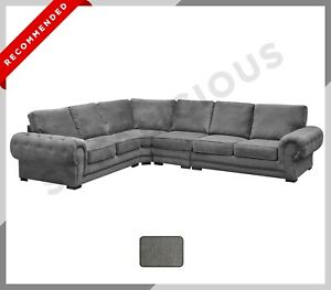 EXTRA EXTRA LARGE Corner Sofa VERONA Chesterfield Fabric Dark Grey Formal Back