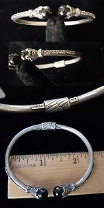 ARTISAN OF BALI SARDA Sterling Silver Black Spinel Hinged Cuff Bracelet br277
