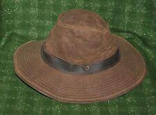 Vintage Orvis Australian Brown Oilcloth Bush Wide Brim Hat Size M