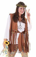 Hippie Costume Ladies 6 Pc Multi Colored Pants Top Vest Sash Headband & Necklace