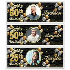 X 2 PERSONALISED HAPPY BIRTHDAY NAME PHOTO PARTY BANNERS 18TH 21ST 30TH 40TH