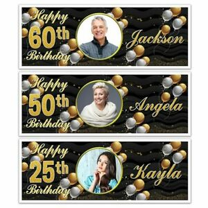 PHOTO HAPPY BIRTHDAY NAME PARTY BANNERS 18TH 21ST 30TH 40TH ANY AGE MEN WOMEN