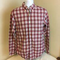 J Crew Mens Red White Green Tartan Plaid Shirt Long Sleeve Small 100% Cotton FS!