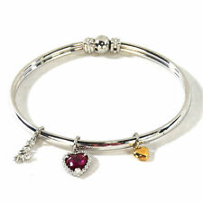".925 Sterling Silver Bracelet w/Ruby, Silver & 14K Yellow Gold Accents (7"")"