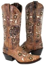 Womens Floral Cowboy Boots Distressed Cognac Real Leather Western Rodeo Snip Toe