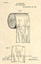 Original Toilet Paper Roll 1891 US Patent Art Print - Bathroom Decor- Vintage 60
