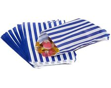 """100 Blue CANDY STRIPE PAPER PARTY GIFT SWEET BAGS 7"""" x 9"""" - CANDY CART WEDDING"""