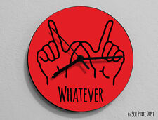 Whatever Hand Symbol  / Round Red - Wall Clock
