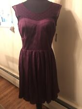 guess bella dress purple wine tea lace faux satin lined size 10 NWT
