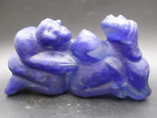 Antique China Hongshan Culture old blue crystal man and woman statue 1710g