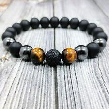 "8""L HIP 10mm Black Onyx+Lava+Hematite+Tigers Eye Gemstone Men's Beaded Bracelet"