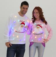 Light up creepy Santa ugly sweater LED Christmas tacky - UNISEX Mens, Womens