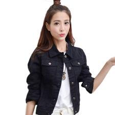 Fashion Womens Denim Jacket Slim Jeans Coat Casual Long Sleeve Vintage Outwear
