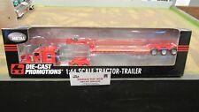 DCP #32810 RED KW W900 SEMI CAB TRUCK W/ CUSTOM PARTS & LOWBOY TRAILER 1:64/FC
