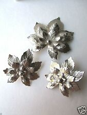 SARAH COVENTRY SET Leaf signed clip earrings pin FREE SHIP Vintage