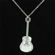 "12-4 Silver Musical Instrument Guitar Pendant Chain Collar Choker Necklace 18"""