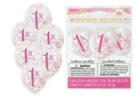 """6 x 1ST BIRTHDAY Clear Girl Party Decorations 12"""" Latex CONFETTI BALLOONS"""