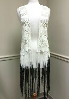 Betsey Johnson Women's Long Fringe Ombre Festival Boho Crochet Vest White Black